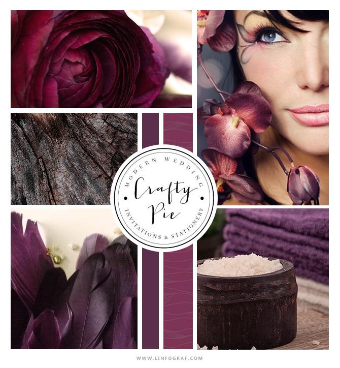 inspiration velours romantique mauve aubergine, prune, plumes spa